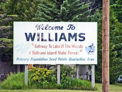 Welcome Sign, Williams Minnesota, 2006