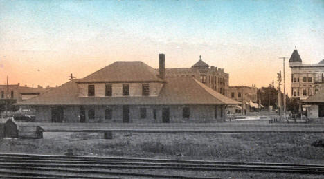 Great Northern Depot and Fourth Street, Willmar Minnesota, 1910