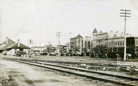 Depot and Downtown, Willmar Minnesota, 1909