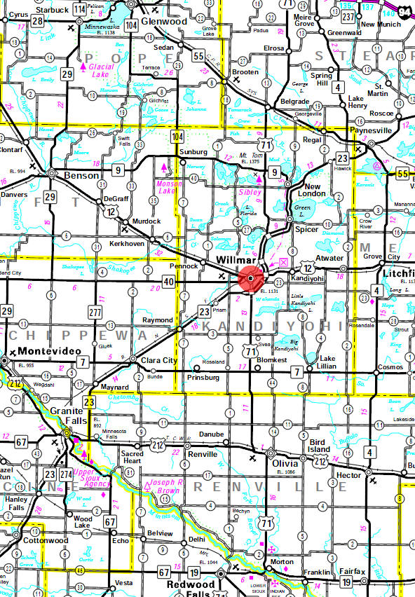 Minnesota State Highway Map of the Willmar Minnesota area