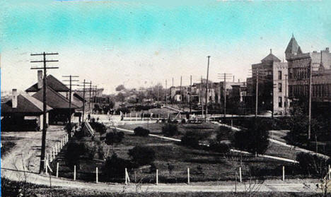 Great Northern Depot and Park, Willmar Minnesota, 1910's