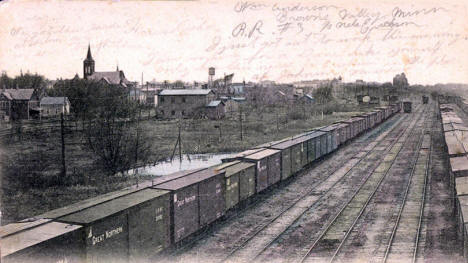 Great Northern Railroad Yards looking west from the Roundhouse, Willmar, 1909
