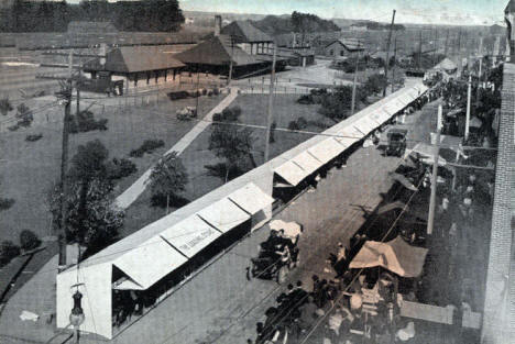 Great Northern Depot and Street Fair, Willmar Minnesota, 1910's