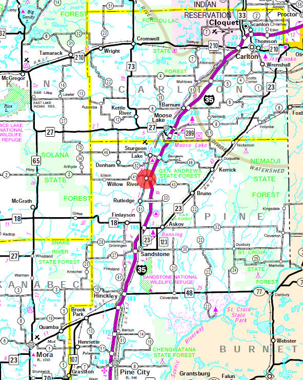 Minnesota State Highway Map of the Willow River Minnesota area