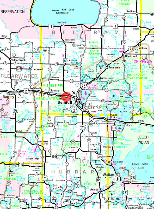 Minnesota State Highway Map of the Wilton Minnesota area