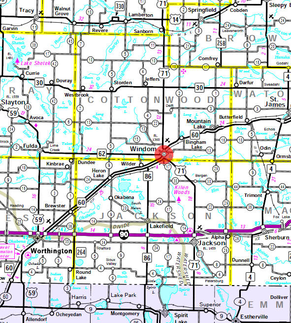 Minnesota State Highway Map of the Windom Minnesota area