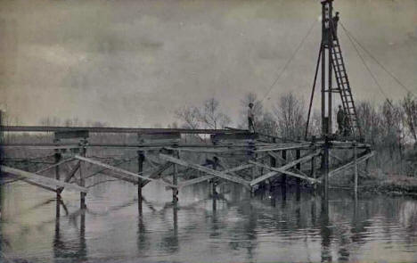 Construction on Bridge over the Des Moines River, Windom Minnesota, 1908