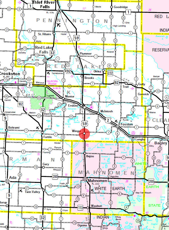 Minnesota State Highway Map of the Winger Minnesota area