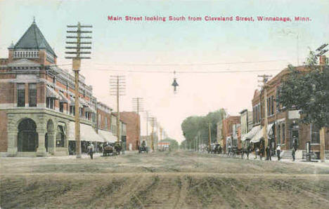 Main Street looking south from Cleveland Street, Winnebago Minnesota, 1908