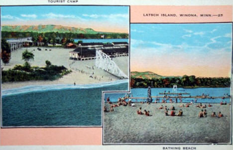 Tourist Camp and Bathing Beach at Latsch Island, Winona Minnesota, 1930's
