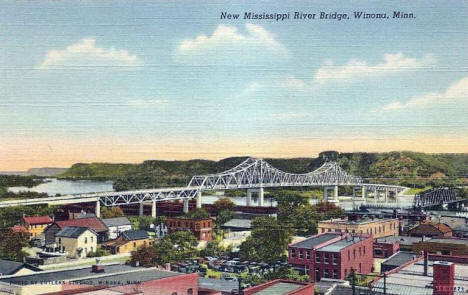 New Mississippi River Bridge, Winona Minnesota, 1943
