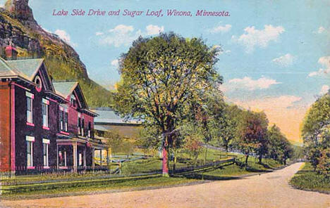 Lake Side Drive and Sugar Loaf, Winona Minnesota, 1910