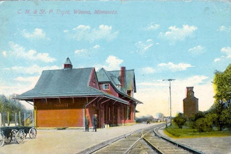 C. M. & St. Paul Railroad Depot, Winona Minnesota, 1909