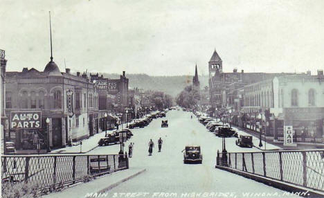 Main Street from the High Bridge, Winona Minnesota, 1939