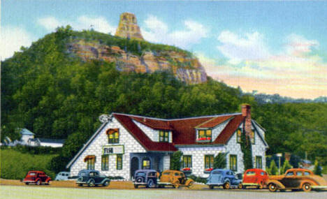 Fish House with Sugar Loaf in background, Winona Minnesota, 1938
