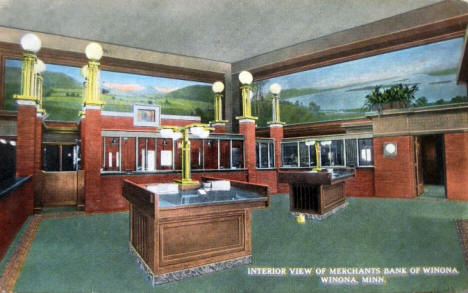 Interior view, Merchants Bank, Winona Minnesota, 1915