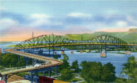 Mississippi High Bridge, Winona Minnesota, 1937