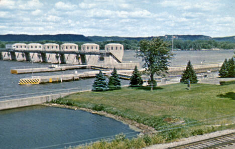 Whitman Dam and locks just north of Winona Minnesota, 1960's