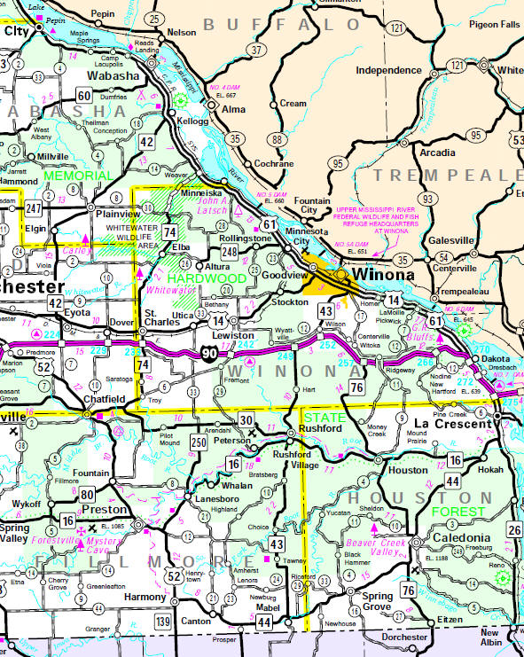 Minnesota State Highway Map of the Winona Minnesota area