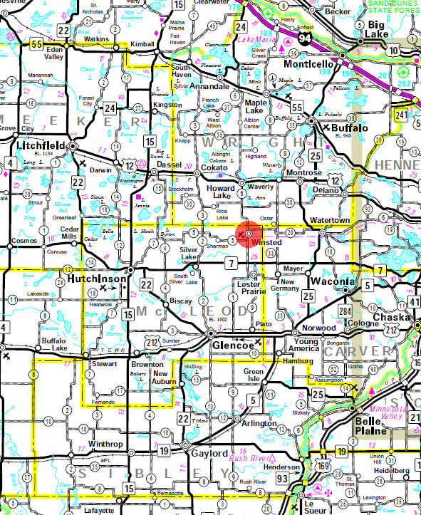 Minnesota State Highway Map of the Winsted Minnesota area