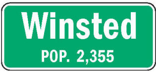 Winsted Minnesota population sign