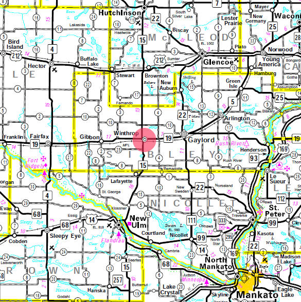 Minnesota State Highway Map of the Winthrop Minnesota area