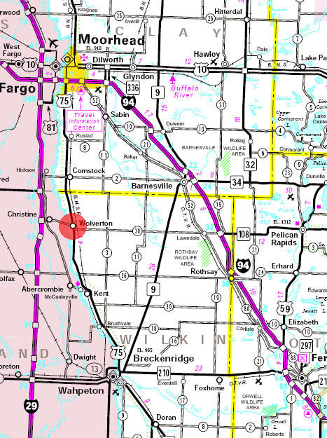 Minnesota State Highway Map of the Wolverton Minnesota area