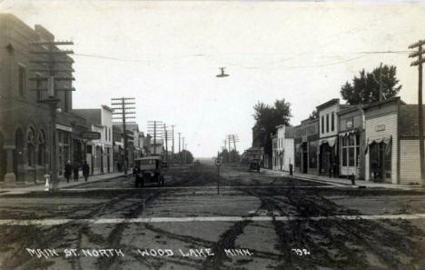 Main Street North, Wood Lake Minnesota, 1920's