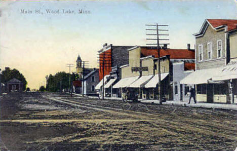 Main Street, Wood Lake Minnesota, 1910