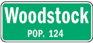 Woodstock Minnesota population sign