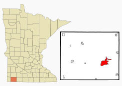 Location of Worthington Minnesota