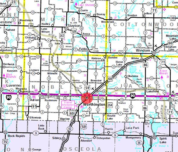 Minnesota State Highway Map of the Worthington Minnesota area
