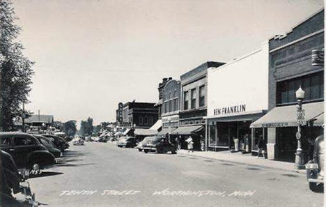 Tenth Street, Worthington Minnesota, 1950's