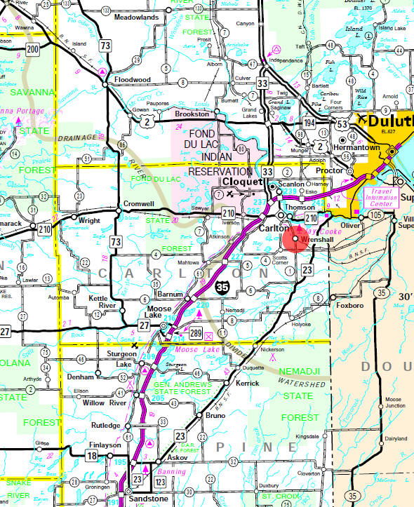 Minnesota State Highway Map of the Wrenshall Minnesota area