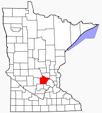 Location of Wright County Minnesota