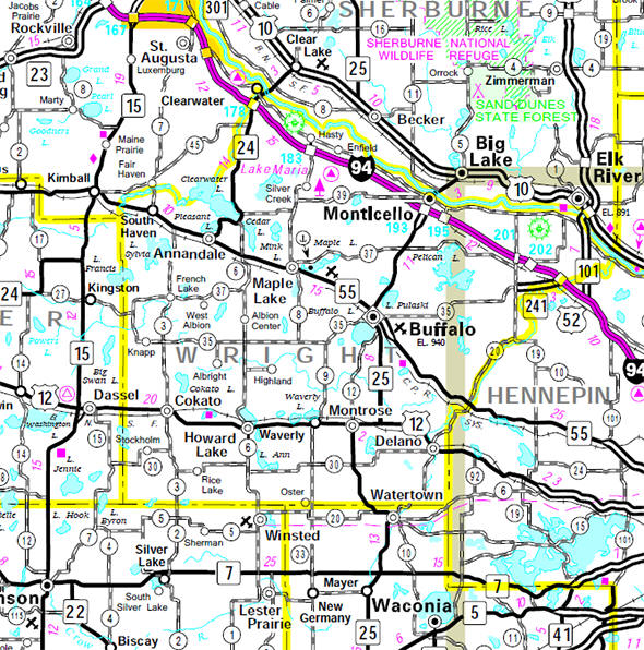 Minnesota State Highway Map of the Wright County Minnesota area