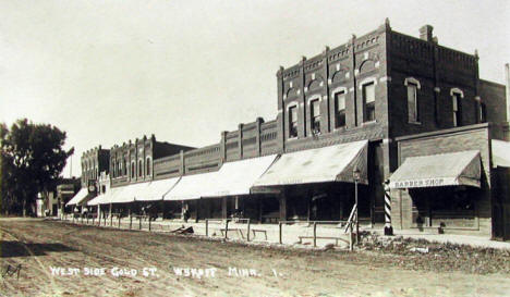 West side of Gold Street, Wykoff Minnesota, 1921