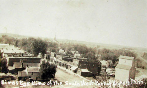 Birds eye view of the southwest part of Wykoff Minnesota, 1925