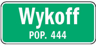 Wykoff Minnesota population sign