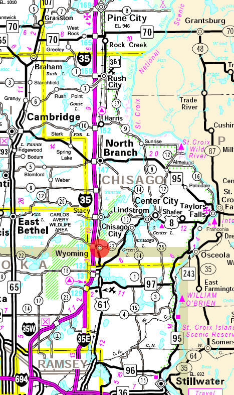Minnesota State Highway Map of the Wyoming Minnesota area