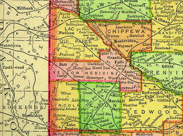 1895 Map of Yellow Medicine County