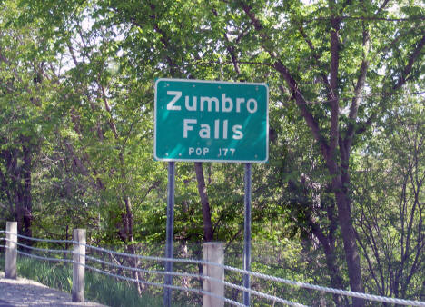 Population sign on State Highway 60, Zumbro Falls Minnesota, 2010