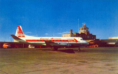 Capital Airlines Viscount Airplane, Minneapolis-St Paul airport, Minnesota, 1950's