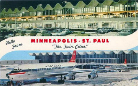Multiple view of new terminal building, Minneapolis-St Paul airport, Minnesota, 1960's