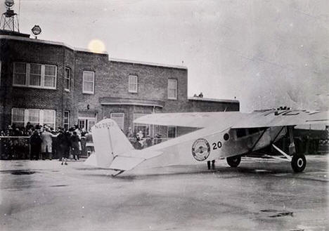 Northwest Airways plane in front of Administration Building, Wold-Chamberlain Airport, 1935