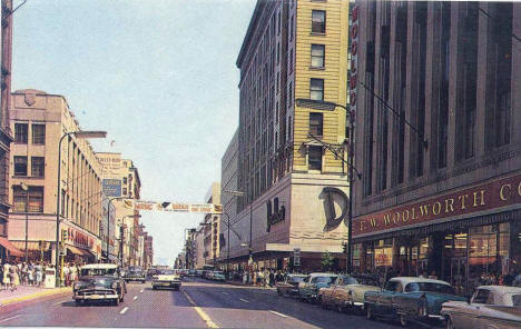 Nicollet Avenue at 7th Street, Minneapolis Minnesota, 1950's