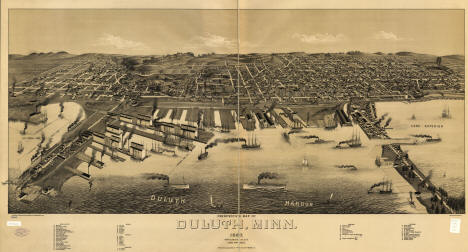 Panoramic View of Duluth Minnesota, 1887