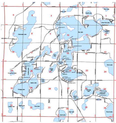 Map of Bay Lake Township, Minnesota