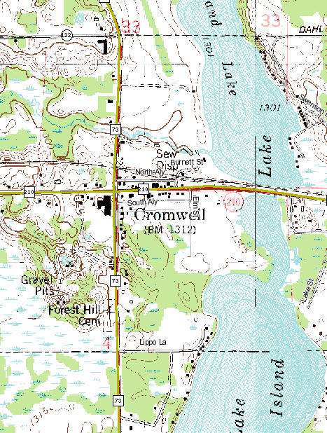Topographic Map of Cromwell Minnesota