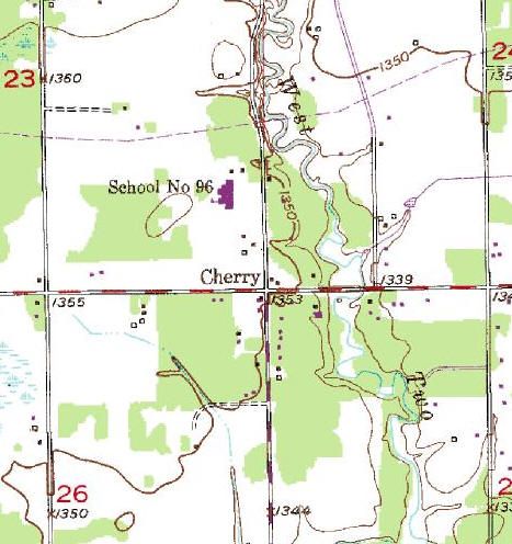 Topographic Map of the Cherry Minnesota area